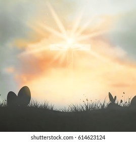 Easter Background With Heaven, Clouds, Jesus And Cross