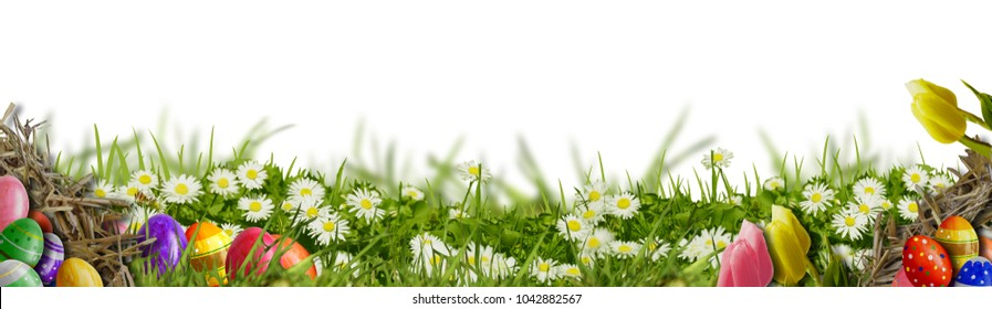 Easter background - meadow with Easter eggs