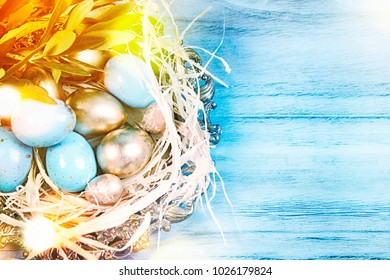 Easter background with olive tree branches and eggs
