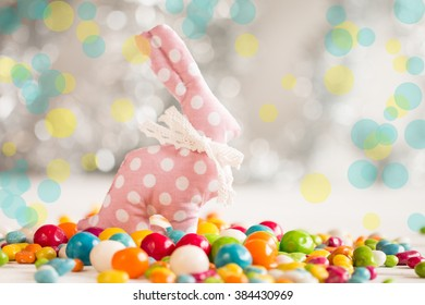 Easter background on wooden table.