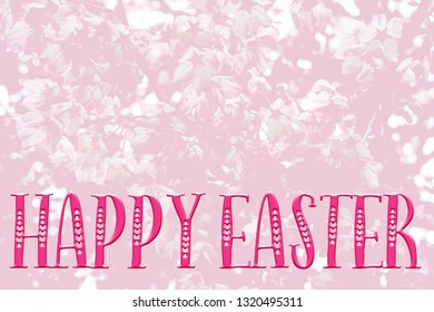 Easter background with pretty pink blossom, and 'Happy Easter' quote. Perfect for Easter Social Media campaigns.