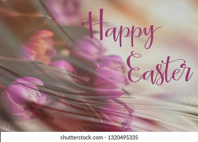 Easter background with a pretty pink bunch of tulips, and 'Happy Easter' quote. Perfect for Easter Social Media campaigns.