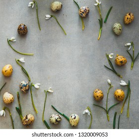 Easter background with quail eggs and snowdrop flowers. Spring background. Overhead flatlay Easter