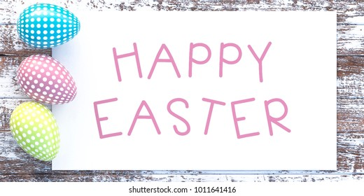 Easter background with realistic colorful eggs on a wooden aged background with a congratulatory inscription. Greeting card fashion design. Set of Easter eggs with place for text Template, 3d, render