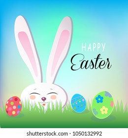 Easter banner background template white bunny stock illustration easter banner background template white bunny rabbit ears happy holiday easter rabbit easter negle Images