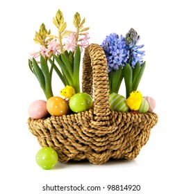 Easter basket with eggs flower bulbs and chicks
