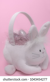 Easter basket filled with glittery eggs