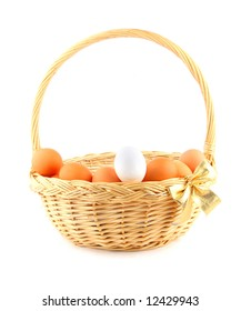 easter basket with a golden bow and multicolored chicken's eggs
