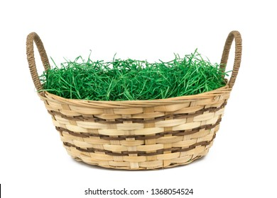 easter basket with grass isolated on white background