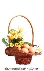 Easter basket isolated on white background