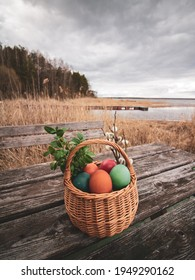 Easter basket on the countryside