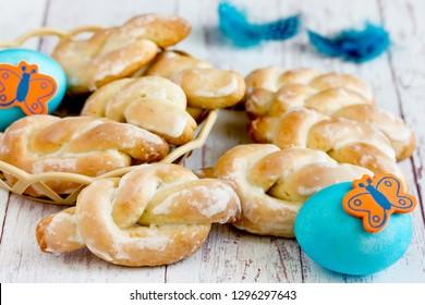 Easter bird skylark cookies in sugar frosting, traditional Easter treats