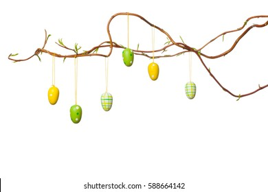 Easter Branches - with Easter Eggs, Ribbons and Chick, Isolated on White
