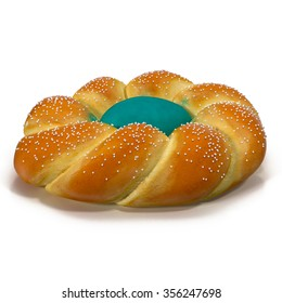 Easter Bread on White Background