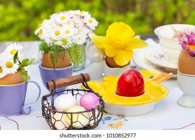 Easter breakfast, Easter decoration on the garden table