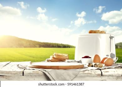 Easter breakfast table in the sunshine