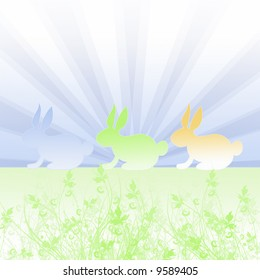 easter bunnies with floral background