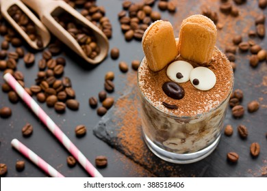 Easter bunny cake tiramisu dessert for children. Funny traditional Italian dessert serving, creative idea holiday sweet food for kids selective focuse