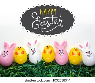 Easter bunny and chick eggs