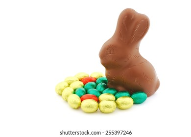 Easter bunny with colorful egg on white background