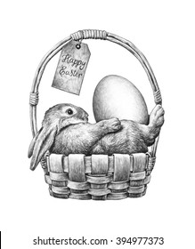 Easter bunny with eggs in a wicker basket. Pencil drawing illustration.