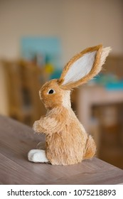 Easter bunny figure on a wooden table