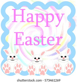 Easter bunny greeting on swirl background illustration