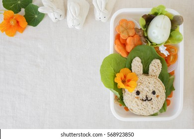 Easter Bunny lunch box, fun food art for kids