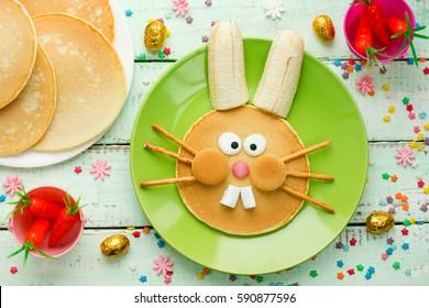 Easter bunny pancakes , creative Easter breakfast idea for kids