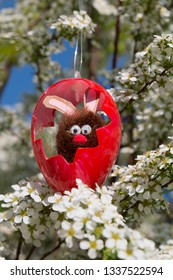 easter bunny sitting in a red plastic egg, branch of a blooming spiraea bush. children handicraf work