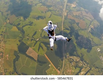 Easter bunny skydiver relax