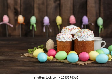 Easter cake and Easter eggs (traditional decoration and treats). Happy easter! Copy space.