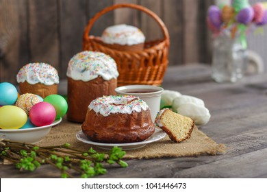 Easter cake and Easter eggs (traditional decoration and attributes). Happy easter!