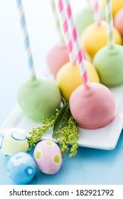 Easter cake pops on fancy fun straws.