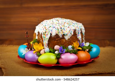 Easter Cake - Russian and Ukrainian Traditional Kulich, Paska Easter Bread. Selective focus.