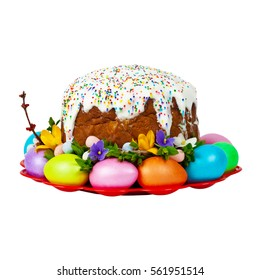 Easter Cake - Russian and Ukrainian Traditional Kulich, Paska Easter Bread Isolated on white background. Selective focus.