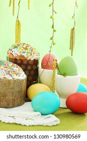Easter cakes with eggs, festive still life