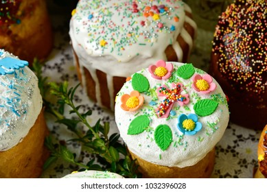 Easter Cakes - Russian and Ukrainian Traditional Kulich, Paska Easter Bread. Selective focus. Homemade family cakes. Happy Easter spring concept.