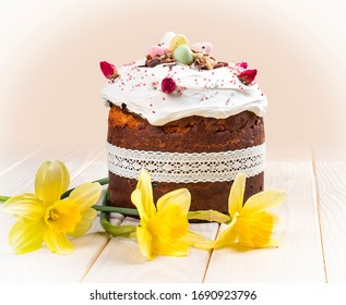 Easter Cakes - Traditional Kulich, Paska Easter Bread. Traditional Easter spring