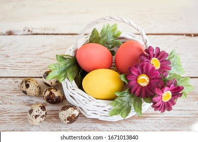 Easter card. Pastel yellow eggs in a white wicker basket on a wooden white table. Burgundy flowers and green leaves complete the composition. Copy space for text.