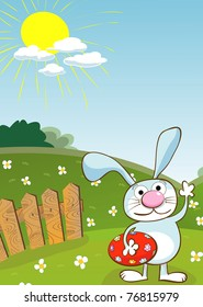 Easter card with room for text, cartoon art