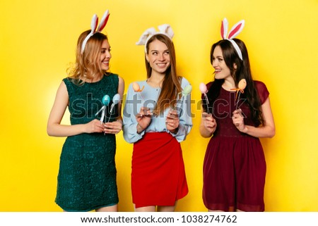 a04517dfcfc2 Easter Charming Girls Colorful Clothes Wearing Stock Photo (Edit Now ...