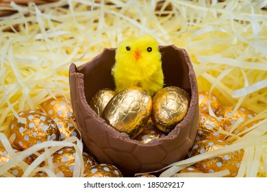 Easter Chicks sitting on Easter eggs