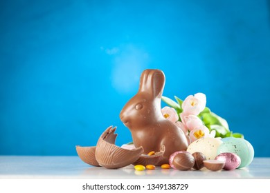 Easter chocolate bunny and eggs