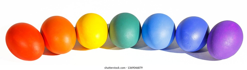Easter colored eggs with transparent background