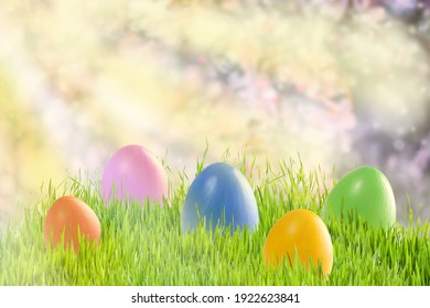 Easter colorful card with painted eggs in grass, holiday background for your design. Egg hunt