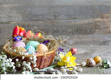 Easter colorful eggs in the nest with flowers on vintage wooden boards