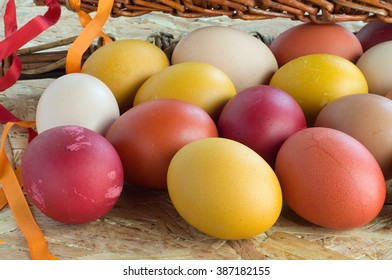 Easter colorful eggs and withe with ribbons
