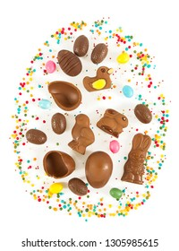 Easter composition with chocolate eggs and animals isolated on white