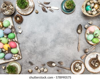 Easter composition with colored eggs and decorations. Holidays flat lay